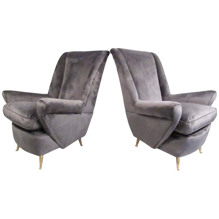 Pair Italian Modern Lounge Chairs for Arredamenti ISA