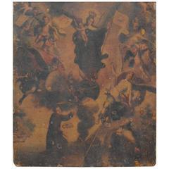 Early 19th Century Retablo Spanish Religious Painting on Tin