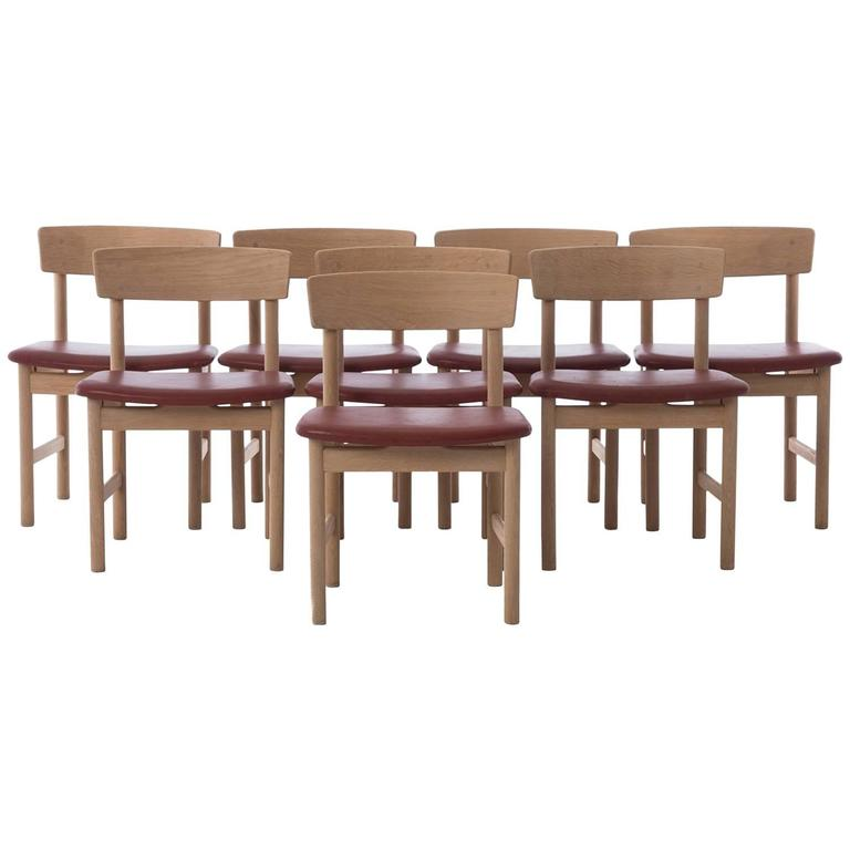 Danish Modern Dining Chairs Set of Eight