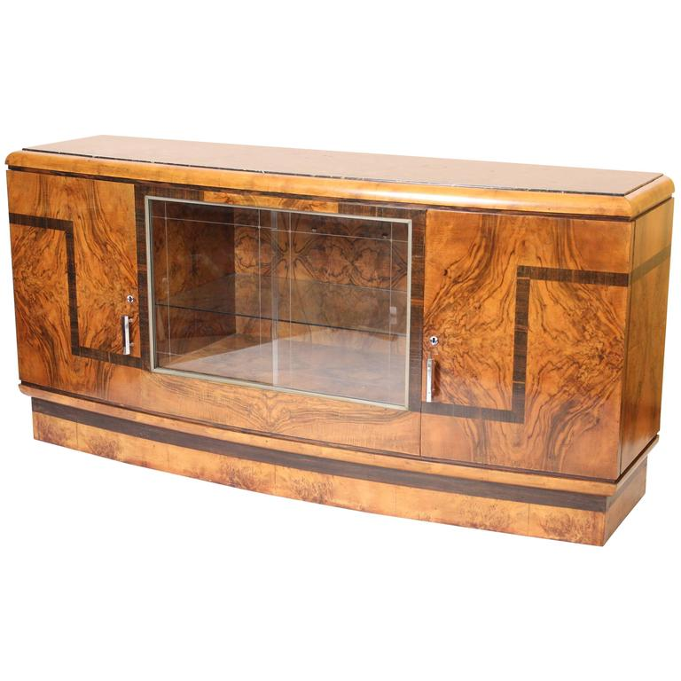 Art Deco Burl Walnut Sideboard 1
