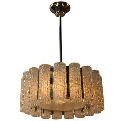 1970s Texture Glass and Chrome Chandelier