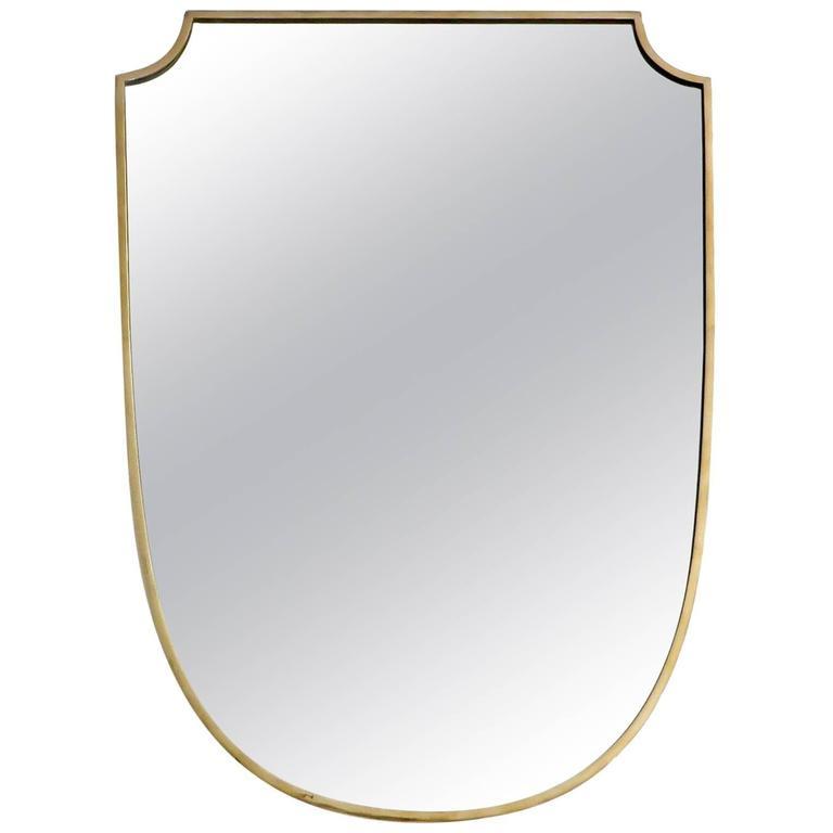 Shield Shaped Italian Brass Framed Mirror