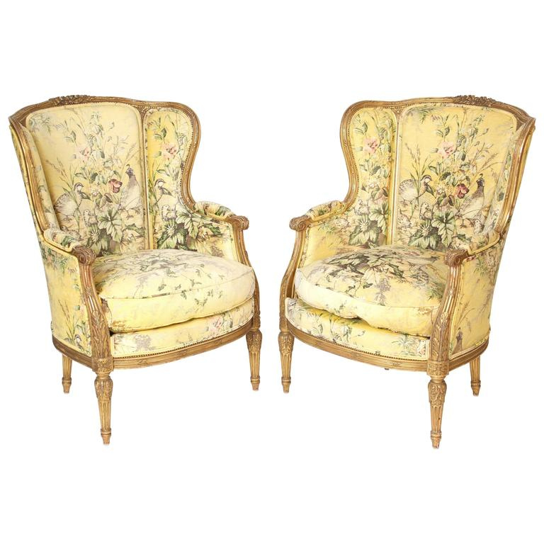 Pair of Louis XVI Style Bergeresd For Sale
