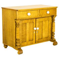 Antique French Canadian Tiger Stripe Maple Washstand, Dry Sink, Commode