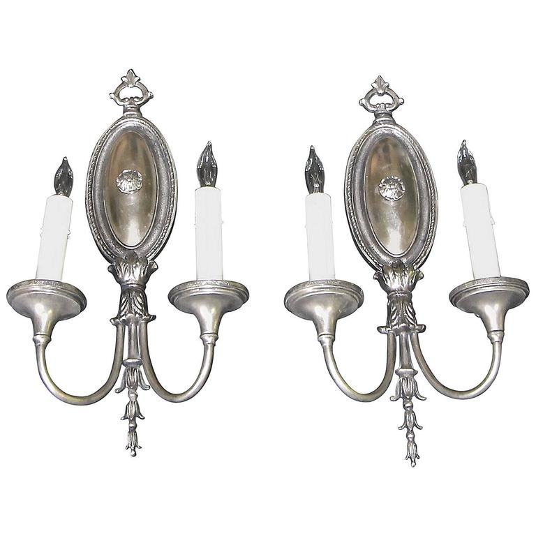 Pair of Sterling Bronze Company Two-Arm Silver Adam Style Wall Sconces