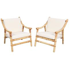 Pair of Bamboo Mid-Century Modern Lounge Chairs