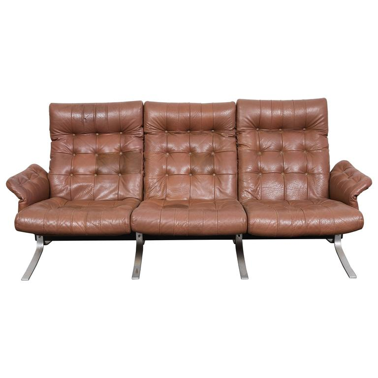 Danish mid century tufted leather atlantis sofa by ebbe for Tufted couches for sale