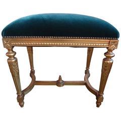 19th Century French Louis XVI Style Gilt Wood Ottoman