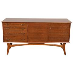 English Mid-Century Low Sideboard in Tola Wood
