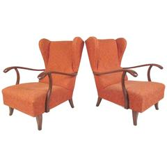 Pair of Paolo Buffa Attributed Wingback Lounge Chairs