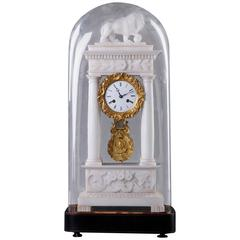 French 19th Century Marble and Ormolu Mantel Clock with Glass Dome