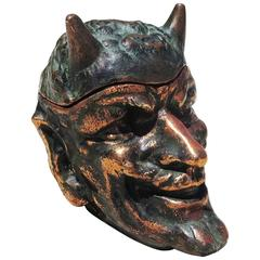 Copper Devil Head Tobacco Jar in the Style of Johann Maresch