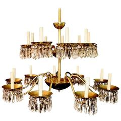 Very Rare Set of Nine Large Crystal Chandelier by Chapman ( price for one )