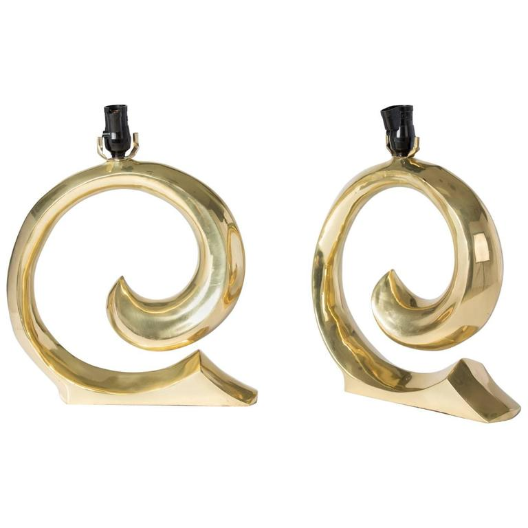 Pierre Cardin Logo Brass Table Lamps 1