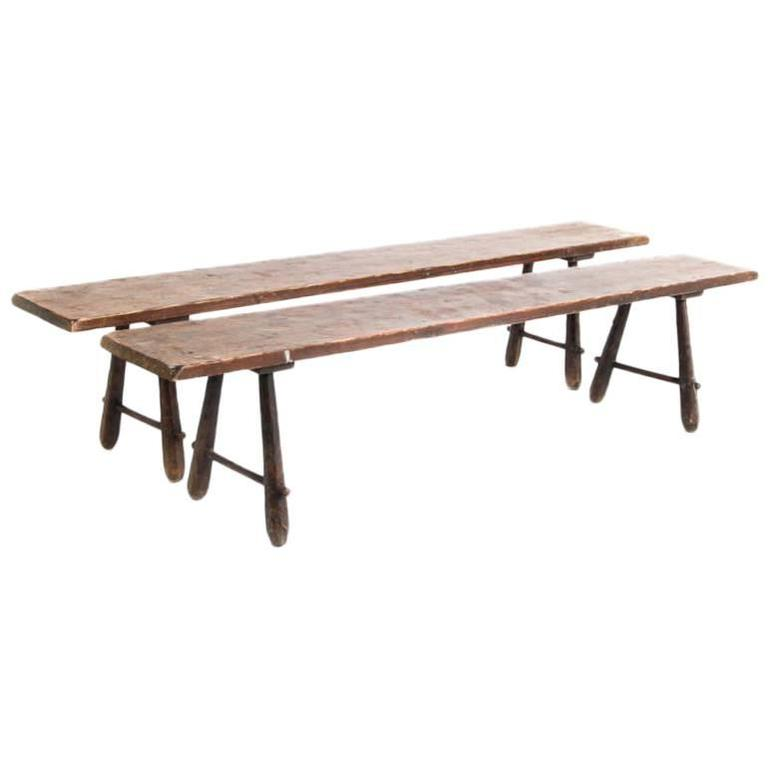 Antique French Pine Benches in Pair, circa 1880