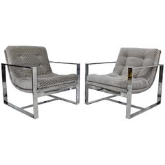 Mid-Century Modern Milo Baughman Attributed Flat Bar Scoop Lounge Chairs, Pair
