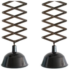Pair of Vintage Industrial Accordion Metal Pendants