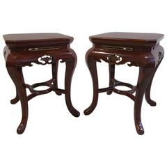 Pair of Art Deco Side Tables Stools