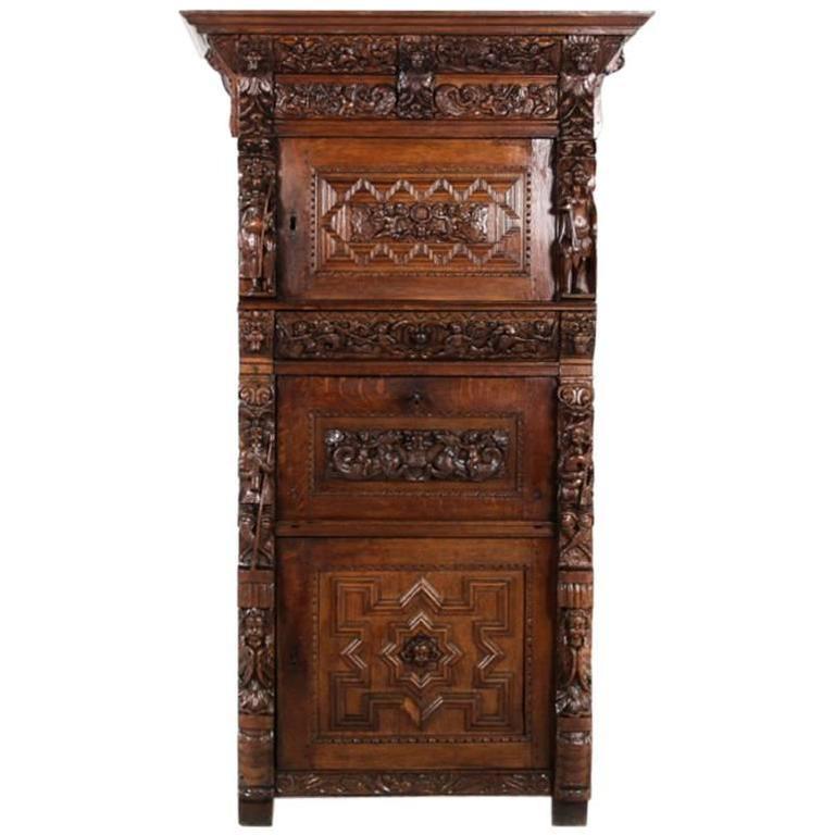Antique French Renaissance Revival Carved Oak Liquor Cabinet ...