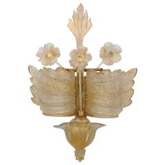 Barvoier et Toso Very Early Rare Murano Rugiada Glass Winged Wall Sconce
