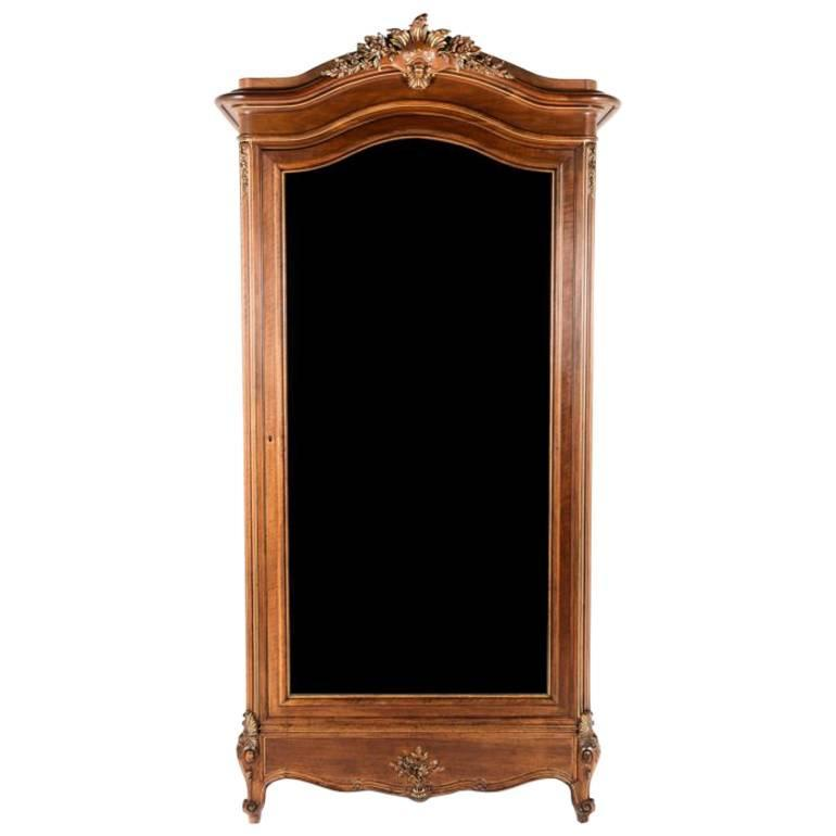 French Antique Single Door Solid Walnut Armoire By Poitreau Freres Circa  1890