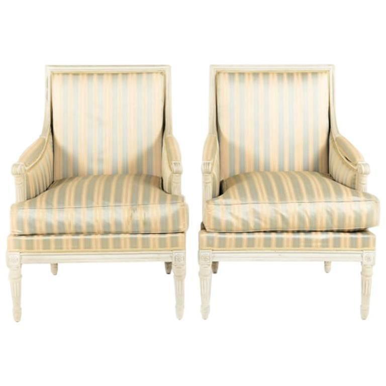 Vintage Louis XVI Style Bergère Down Filled Armchairs From Paris. For Sale