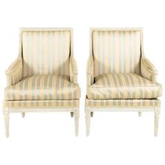 Vintage Louis XVI Style Bergère Down Filled Armchairs from Paris.