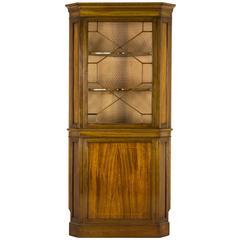 Antique Scottish Mahogany Inlaid Corner Cabinet, China, Curio Cabinet