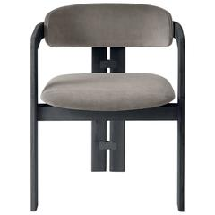 Unique Italian Designed Three-Legged Dining Chair in Wood and Upholstery