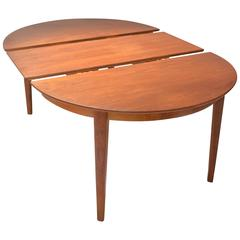 Henning Kjaernulf Teak Round Table with One Leaf