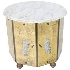 Reversed Gold Leaf Mirrored Marble-Top Round Drum Shape Stand Cabinet
