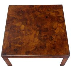 Burl Patch Work Square Coffee Table Amber to Rust Colors