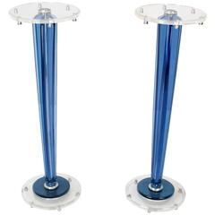 Pair of Tall Clear and Blue Lucite Tapered Bases Pedestals