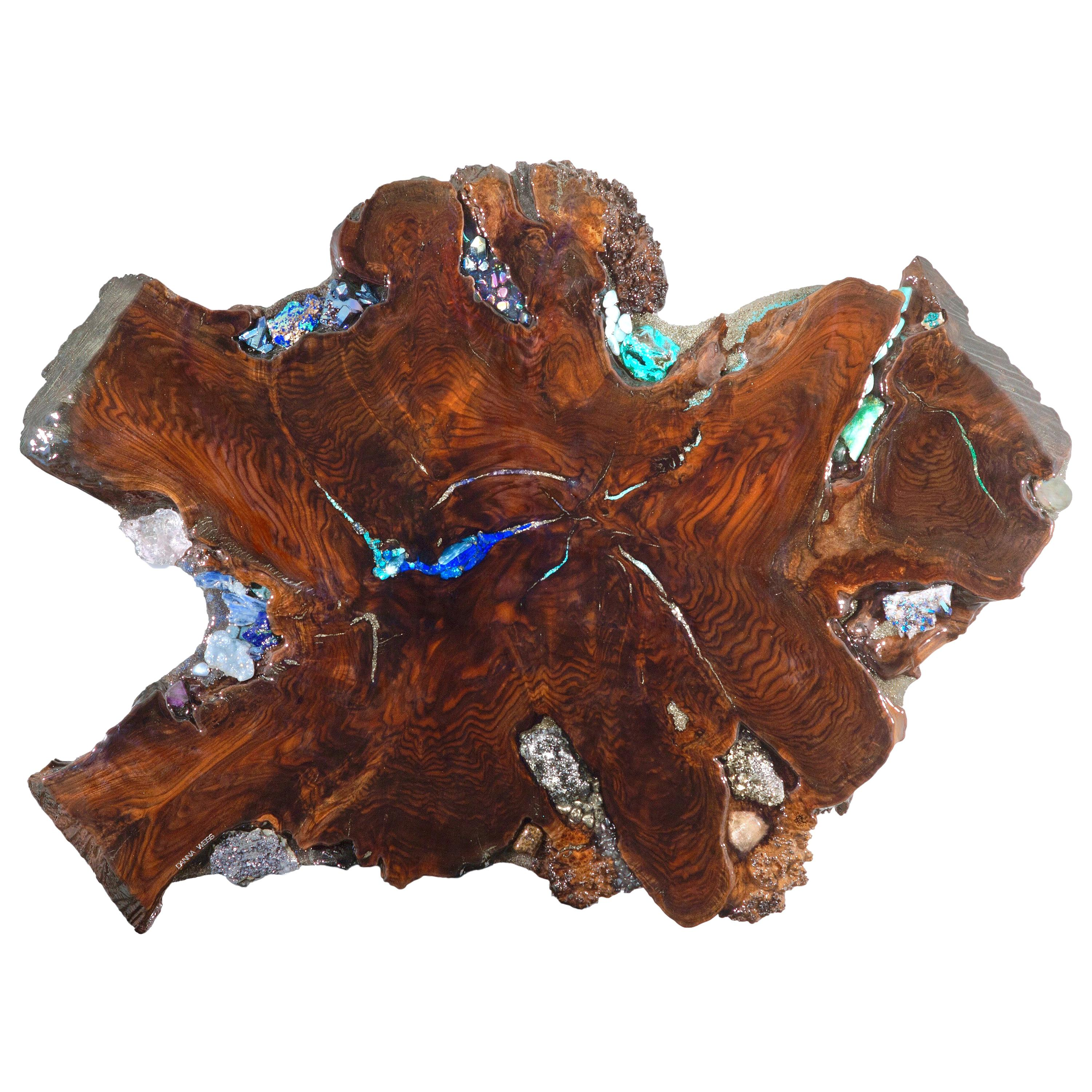Walnut wood sculpture with crystal and gemstone inlays