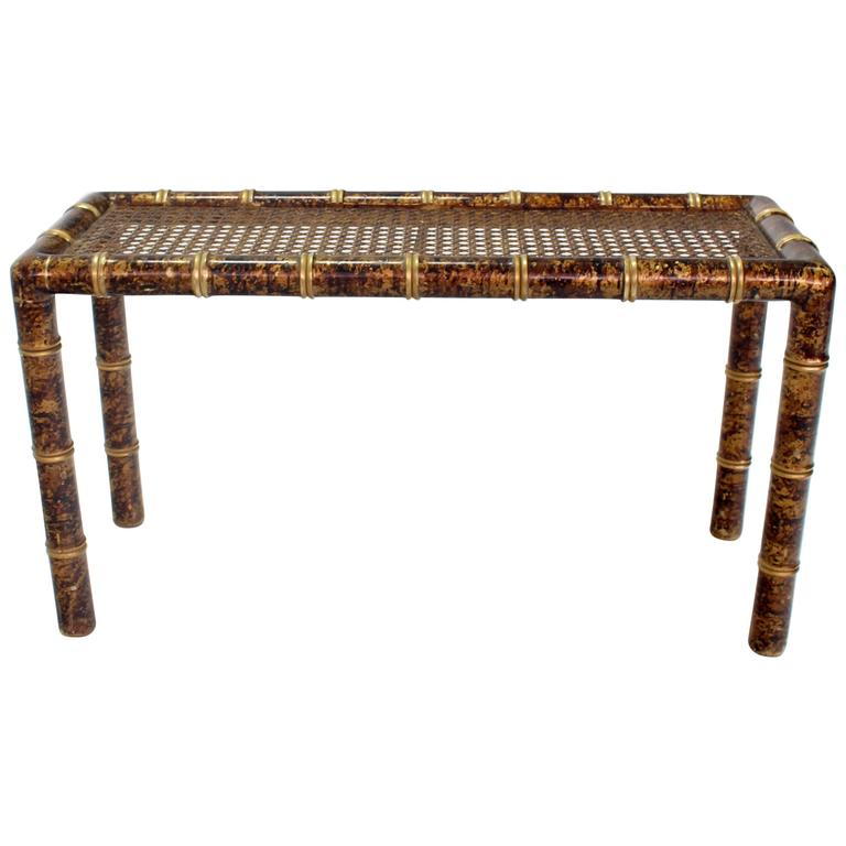 Gold And Amber Faux Bamboo Cane Top Console Table For