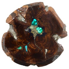 Walnut wood sculpture in resin with semiprecious stone inlay