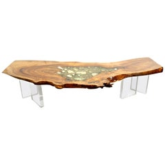 English Elm wood coffee table with crystal and gemstone inlay