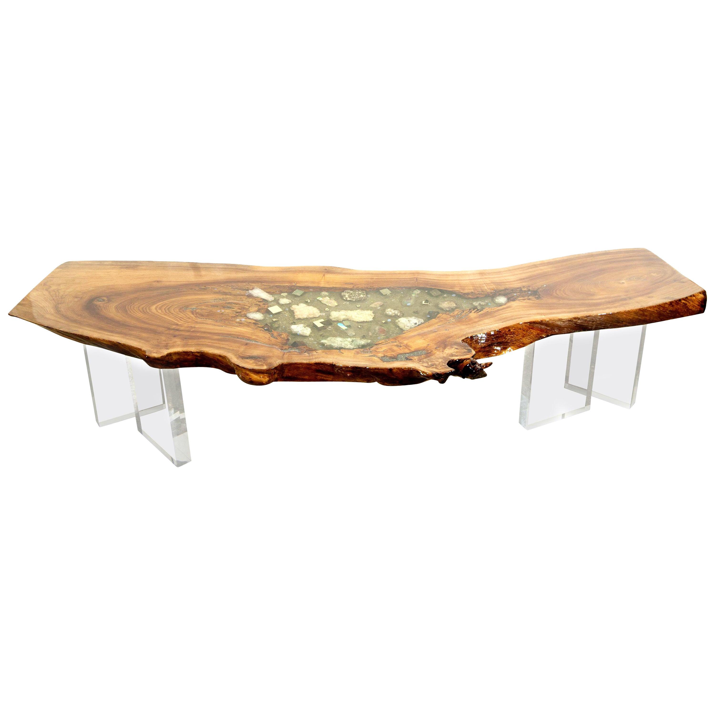 English Elm wood coffee table with crystal and gemstone inlay