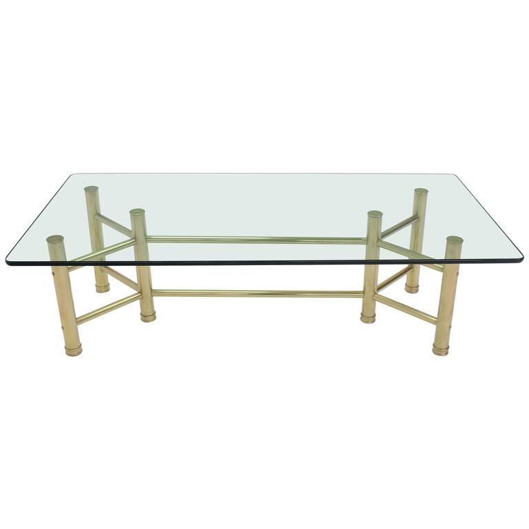 Sold brass tube glass top rectangular coffee table for for Rectangular coffee table with glass top