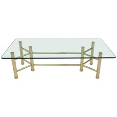 Solid Brass Tube Glass Top Rectangular Coffee Table