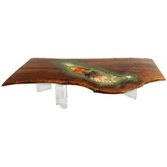 Coffee Table, Center Table or Desk in Claro Walnut with Crystals and Gemstones