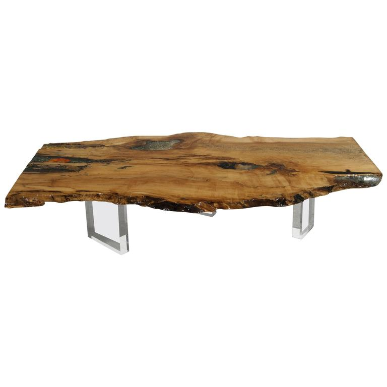 Coffee Table, Desk or Center Table in Hard Maple with Crystals & Gemstones  1