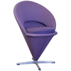 1958, Verner Panton for Rosenthal, Cone Chair in Original Purple Linen Fabric