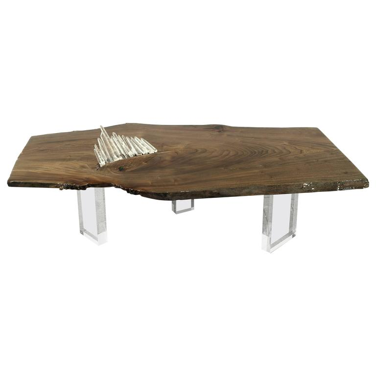 Coffee, Cocktail, or Center Table in English Elm w/ Quartz Crystal & Lucite Base For Sale