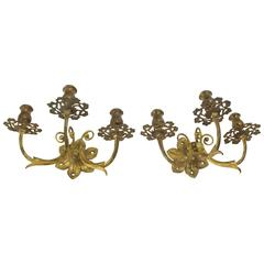 Pair of Bronze Candle Sconces
