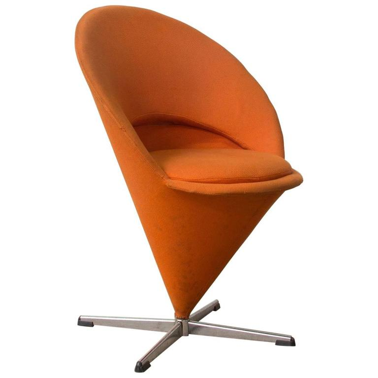 1958, Verner Panton For Rosenthal, Cone Chair In Original Orange Linen  Fabric
