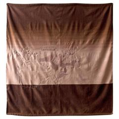 Cashmere Wool Hand embroidered Horizon Throw 2 - Brown & Taupe