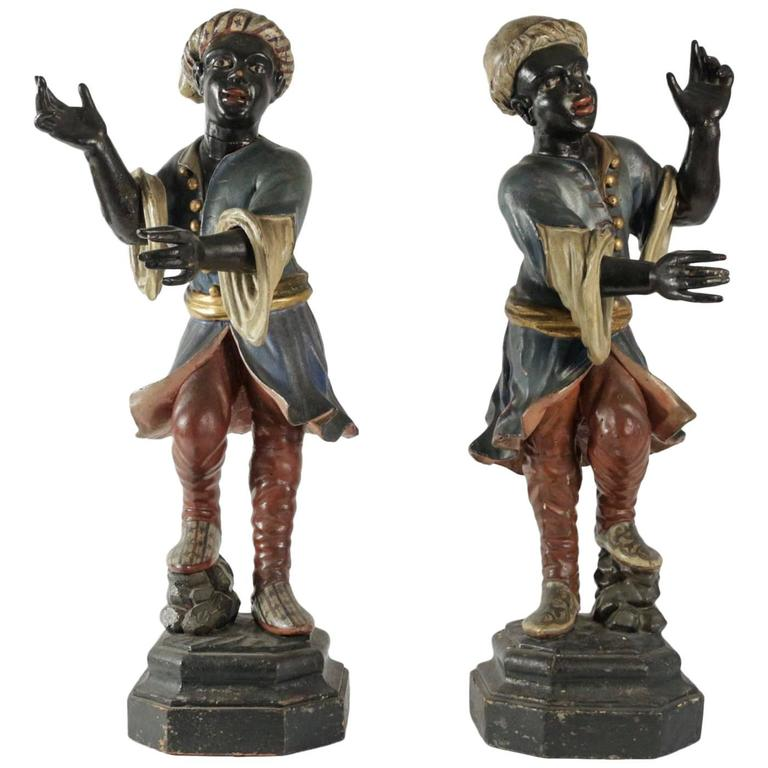 Early 19th Century Venetian Nubian Torcheres in Painted Wood, circa 1800 For Sale