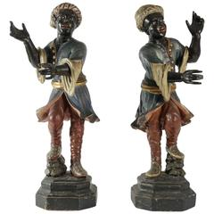 Early 19th Century Venetian Nubian Torcheres in Painted Wood, circa 1800