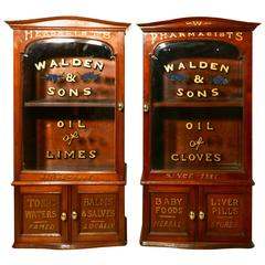 Pair of Victorian Mahogany Sign Painted Chemist's or Bathroom Cupboards